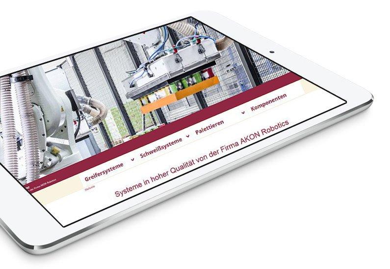 AKON Robotics Internetseite in Tablet Vorschau