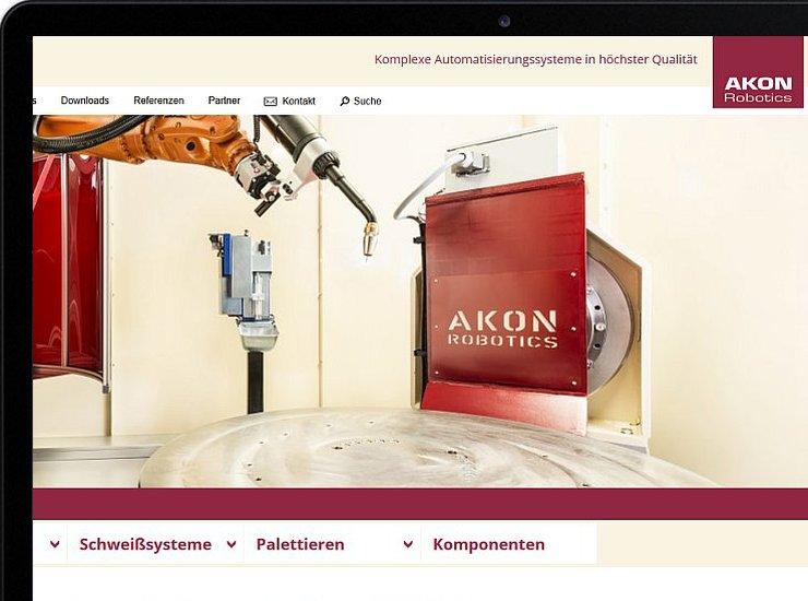 AKON Robotics Internetseite im Tablet Vorschau